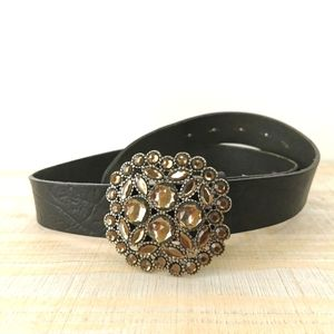 "Leather belt 42"" black made in Brazil"